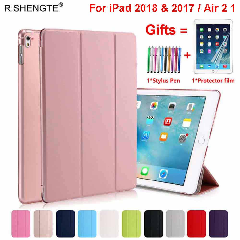 Untuk Ipad 9.7 2018 2017 Case Magnetik PU Kulit Stand Smart Cover untuk iPad 5 6 AIR 1 2 5th 6th Generasi dengan Pena Stylus + Film