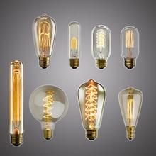 Ретро лампа Эдисона, светильник E27 25 Вт 40 Вт 60 Вт ST64 230 В, Светодиодный светильник накаливания, винтажная Подвесная лампа, промышленный Декор