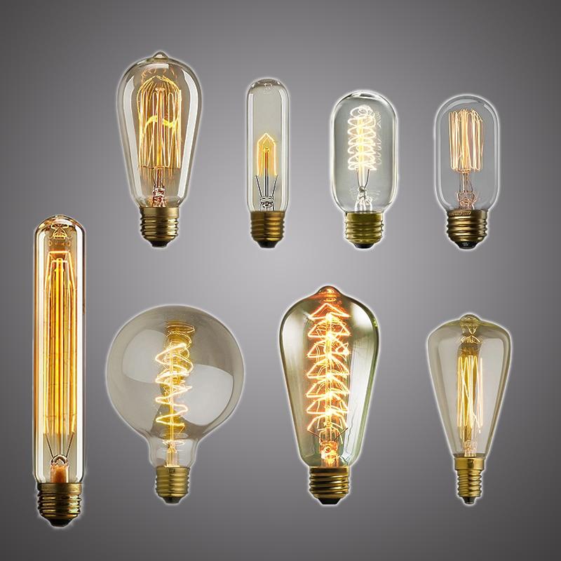 Retro Edison Lamp Light Bulb E27 25W 40W 60W ST64 230V LED Incandescent Lamp Filament Bulb Vintage Pendant Lamp Industrial Decor