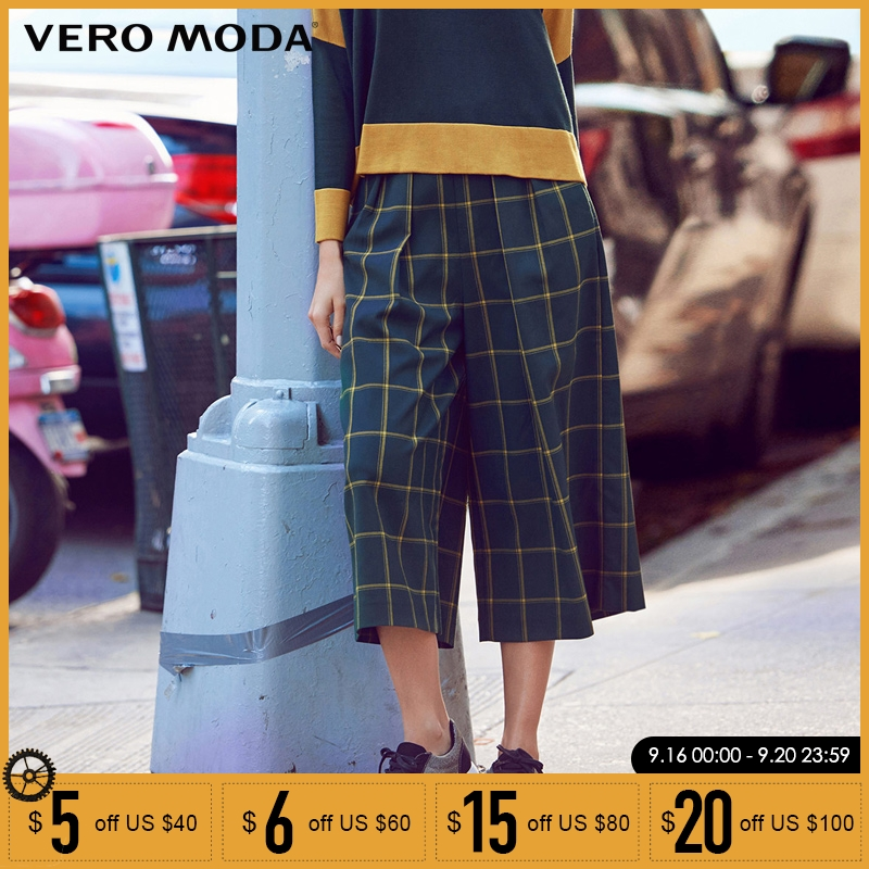 Vero Moda Brand 2019 NEW three quarter trouser regular OL-style side pocket zipper plaid women   wide     leg     pants   |31616J007