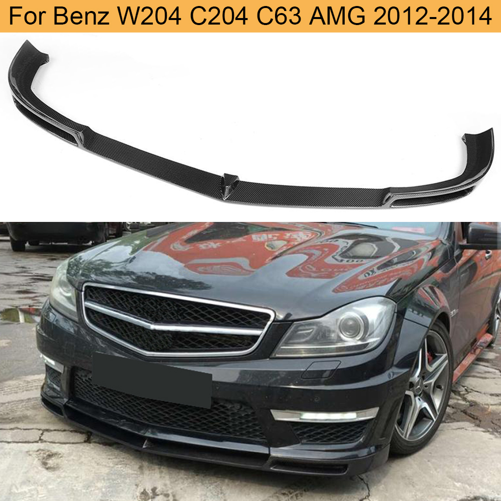 C Class Carbon Fiber Car <font><b>Front</b></font> Bumper <font><b>Lip</b></font> Spoiler for Mercedes <font><b>Benz</b></font> <font><b>W204</b></font> C204 C63 AMG 2012 - 2014 <font><b>Front</b></font> <font><b>Lip</b></font> Spoiler Splitters image