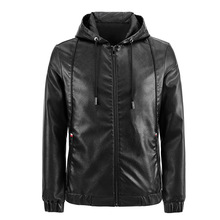 Leather Jacket 2020 New Style Casual High Quality Solid Color Zipper Pocket Hooded Slim Motorcycle Men