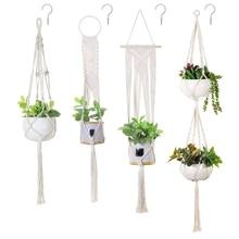 4 Pack Macrame Plant Hanger and 4 Pcs Hooks Indoor Outdoor Hanging Plant Holder Hanging Planter Stand Flower Pots for Decoration