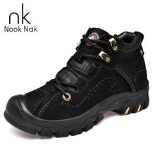 Men High Top Snow Boots Winter Warm Short Plush Hiking Shoes Genuine Leather Waterproof Outdoor Climbing Tactical Boots Big Size