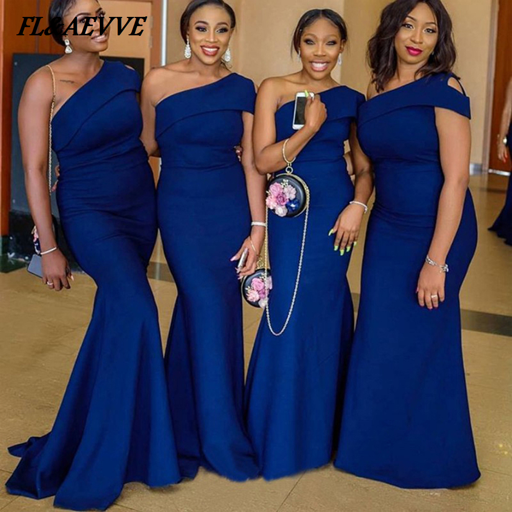 Wholesale Price Royal Blue Bridesmaid Dresses Mermaid Sexy One Shoulder Satin African Bridesmaid Dress for Teens Wedding Party