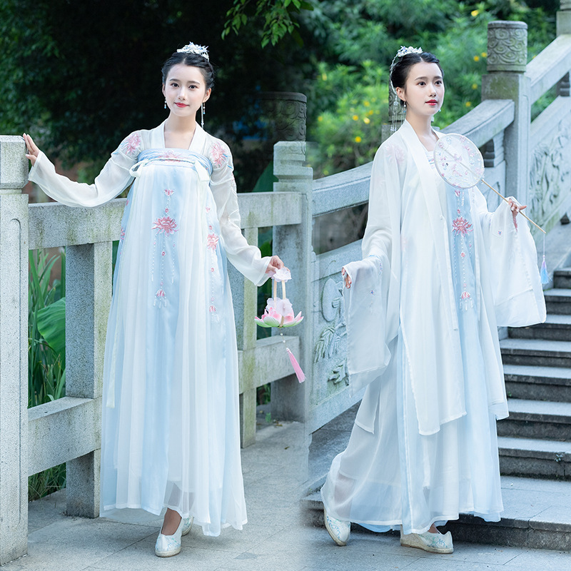 Embroidery Hanfu Women Classical Dance Costume Lotus Fairy Dress Folk Festival Outfit Oriental Singer Performance Clothes DF1393