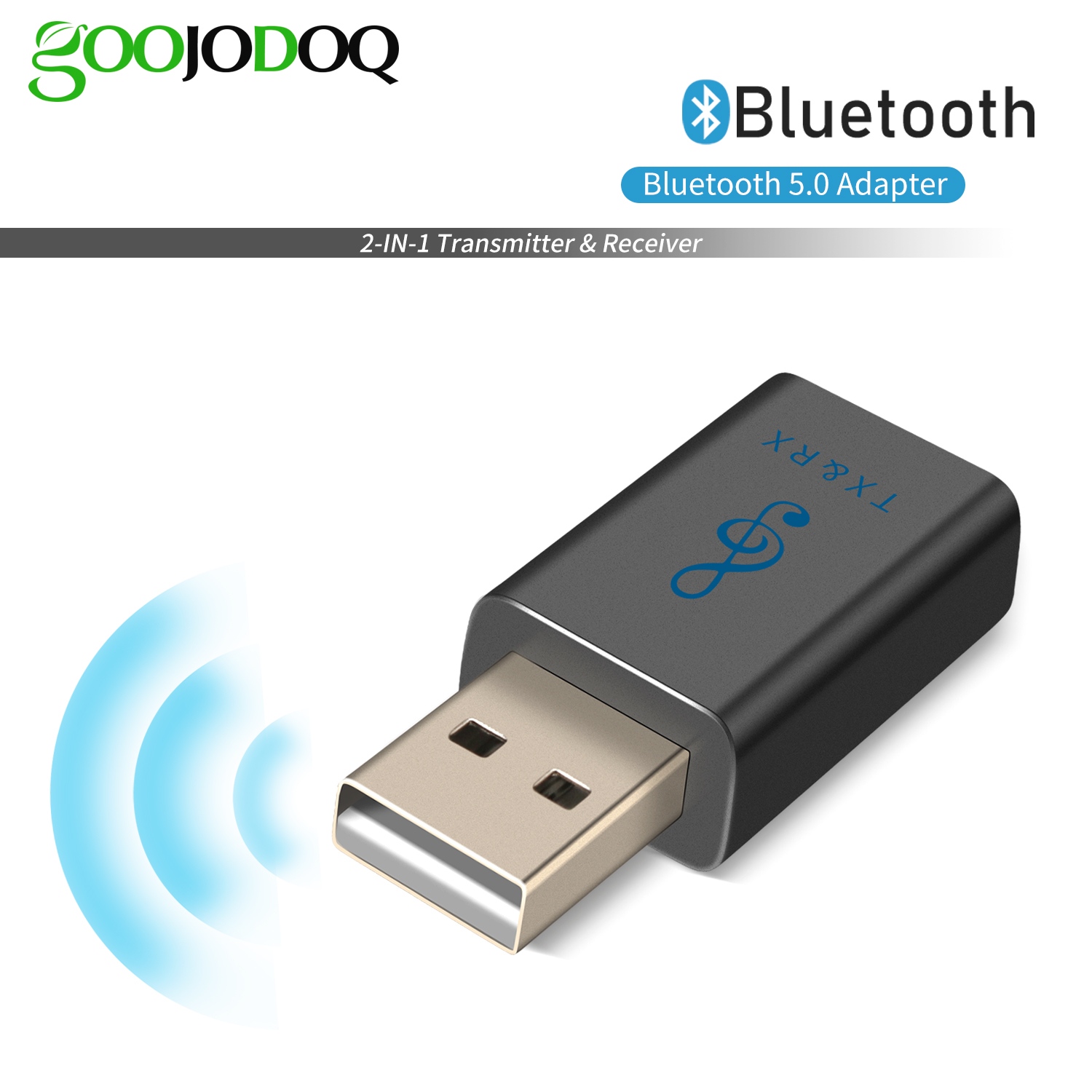 USB Bluetooth 5.0 Transmitter Receiver Portable 2 in 1 USB Wireless Bluetooth Adapter with 3.5mm aux Cable for TV//PC//Car//Home Stereo System