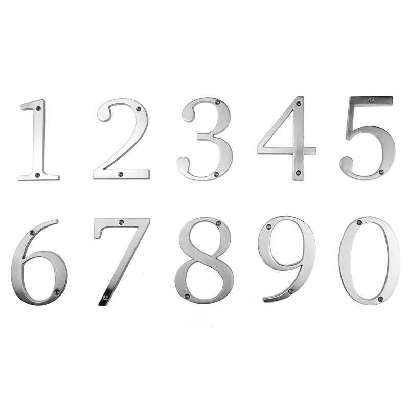 10cm Big Modern House Number Door Home Address Mailbox Numbers for House Number Digital Door Outdoor Sign 4 Inch. #0-9 Silver