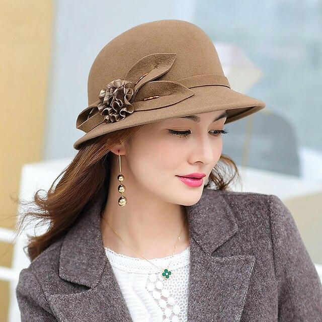 2019 Winter Lady Chic Flower Fedora Hats Women Party Formal 100% Australia Wool Felt Hat
