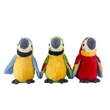 Bonito elétrico falando papagaio brinquedo de pelúcia falando registro repetições acenando asas electroni pássaro recheado brinquedo de pelúcia como presente para crianças