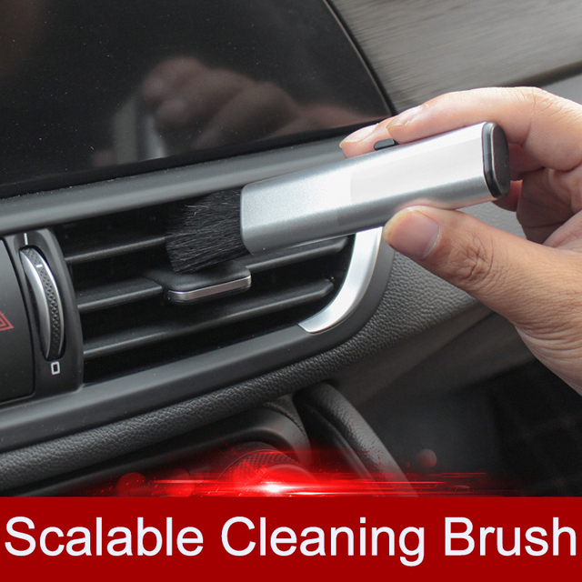 QHCP Car Conditioning Air Outlet Cleaning Plastic Small Dust Removal Artifact Soft Brush Retractable Interior For All Cars