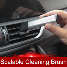 QHCP سيارة تكييف الهواء منفذ تنظيف البلاستيك جهاز إزالة الغبار الصغيرة قطعة أثرية فرشاة لينة قابل للسحب الداخلية لجميع السيارات