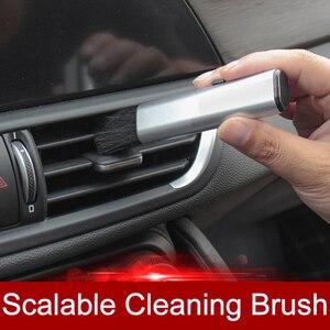 Image 1 - QHCP רכב מיזוג אוויר לשקע ניקוי פלסטיק קטן אבק הסרת חפץ רך מברשת נשלף פנים עבור כל מכוניות