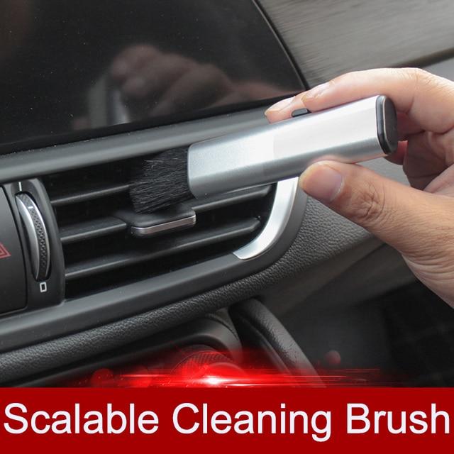 QHCP רכב מיזוג אוויר לשקע ניקוי פלסטיק קטן אבק הסרת חפץ רך מברשת נשלף פנים עבור כל מכוניות