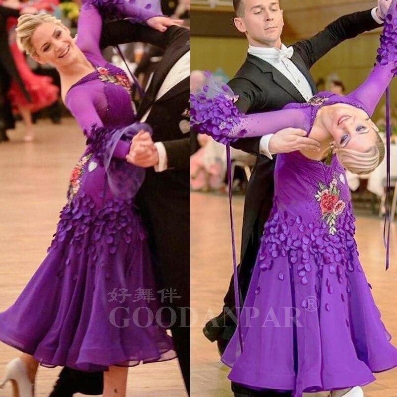 Purple Flower Ballroom Dance Dress Standard Dancewear Costume Modern Dress Waltz Competition Dancewear Summer Chiffon