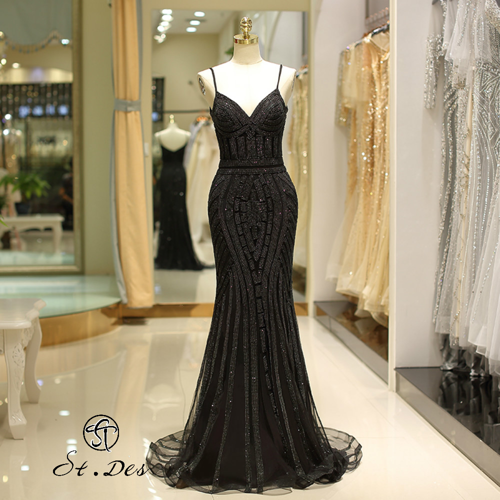 NEW 2020 St.Des Mermaid V-Neck Spaghetti Strap Russian Black Champagne Beading Sleeveless Floor Length Evening Dress Party Dress