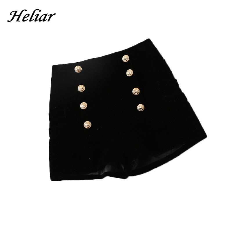 HELIAR 2020 Fall Women High Waist Buttons Formal Suit Shorts Wide Leg Outwear Shorts 2019 Autumn INS Hot Highstreet Shorts Women