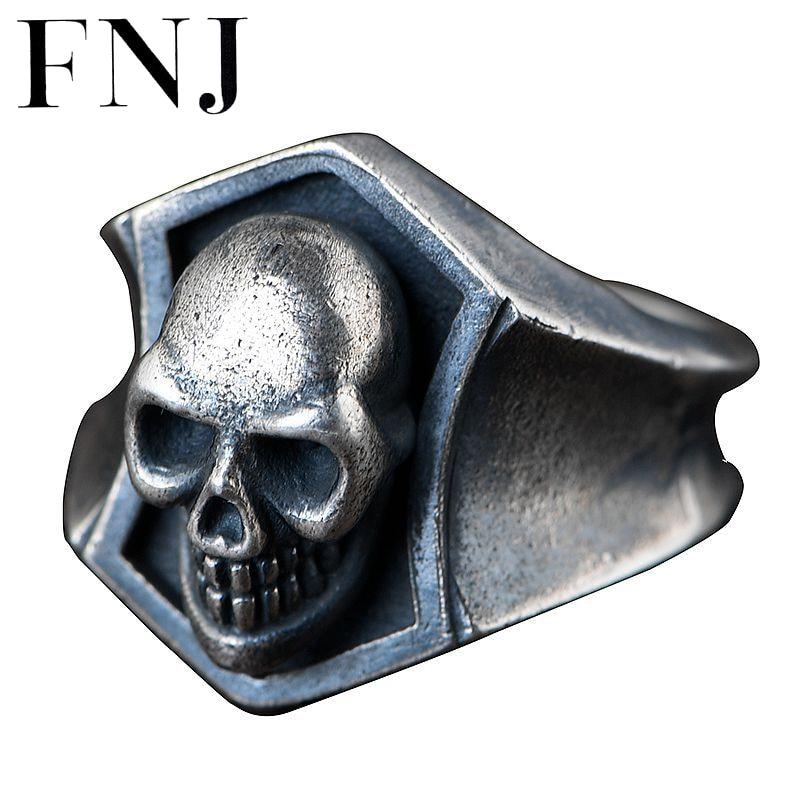 FNJ punk crâne anneaux 925 argent taille 9.5-12 ouvert populaire S925 solide bague en argent pour hommes bijoux bien