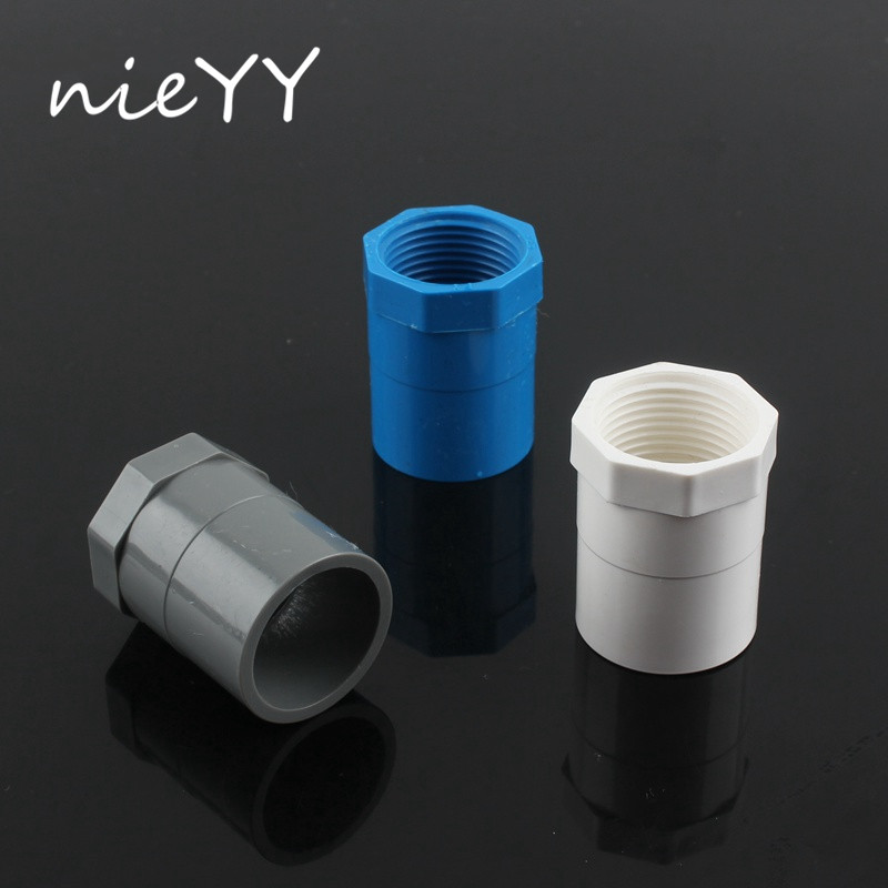 """4pcs 3/4"""" Female Thread x 25mm ID Socket Straight PVC Pipe Fitting Straight Pipe Tube Adapter Connector Gray Water Connector"""