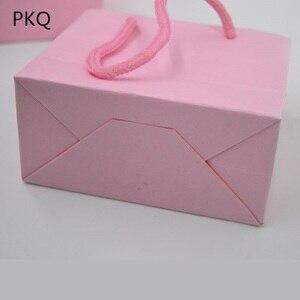 Image 5 - 3ขนาดสีขาวของขวัญกับจับสีดำ/กระเป๋ากระดาษคราฟท์สีน้ำตาลสำหรับบรรจุภัณฑ์ขนาดเล็กสีชมพูเครื่องประดับกระเป๋าปัจจุบันกระเป๋า