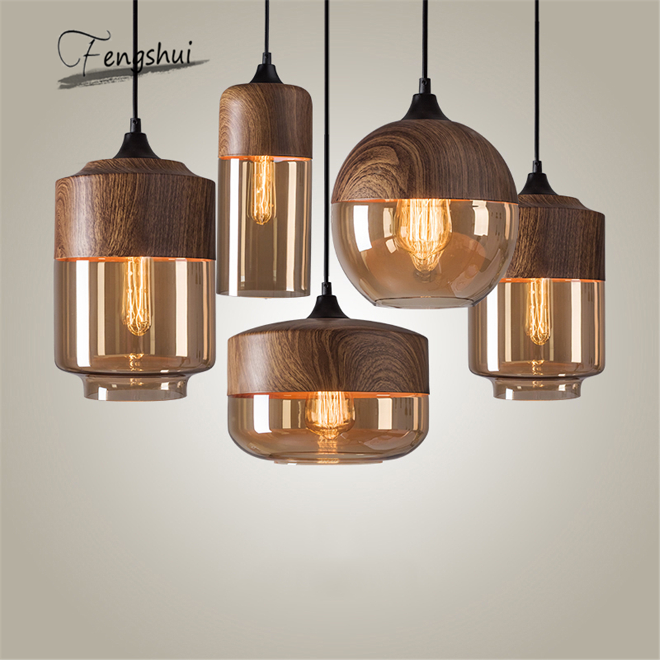 Vintage Pendant Lights American Amber Glass Pendant Lamp E27 Edison Light Bulb Dining Room Kitchen Home Decor Planetarium Lamp
