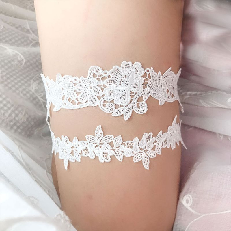 2Pcs/Set 2Pcs/Set Women Wedding Bridal Leg Garters Solid Color Black/White Lace Flower Hollow Out Embroidered Stretchy Thigh