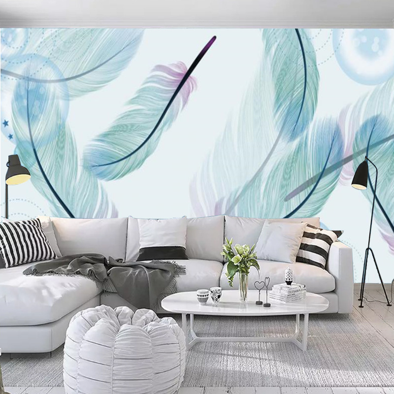 3D Television Sofa Wall Living Room Mural Seamless Wall Cloth Mural Bedroom Warm Fresh Feather Wallpaper