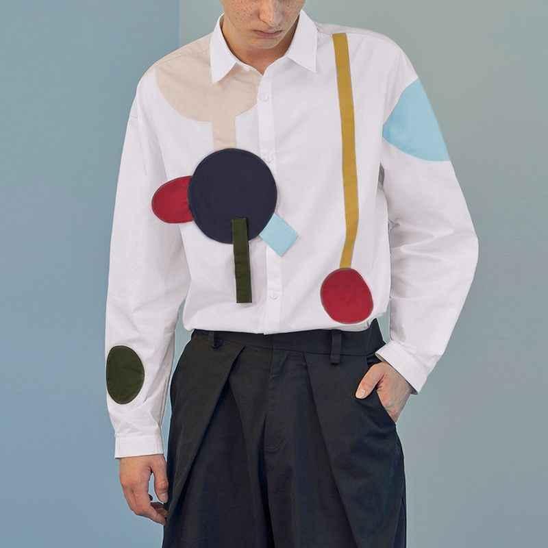 INCERUN ファッション男性シャツプリント長袖カジュアルパッチワークストリート人格ラペルブランドアロハシャツ男性 S-5XL