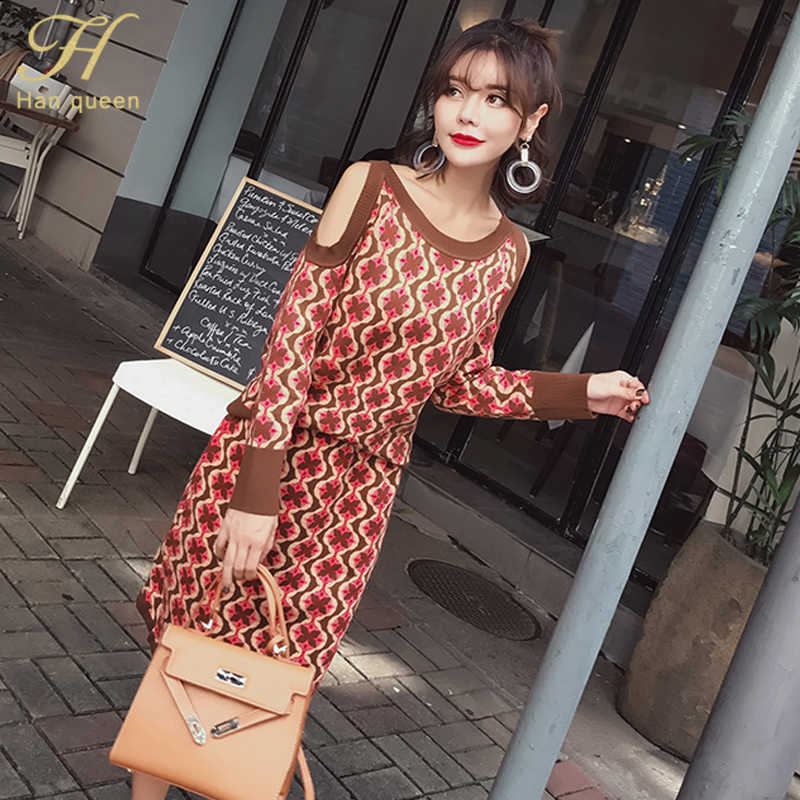 H Han Queen Retro Sexy Off Shoulder 2 Pieces Suits Women Autumn Winter Streetwear Set O-neck Pullovers Sweater & Knitted Skirts