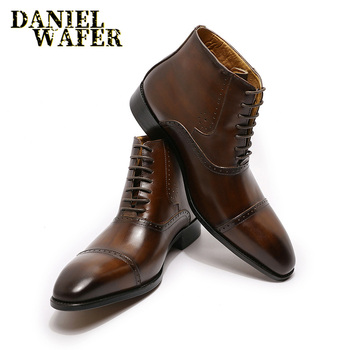 Men Ankle Boots Prints Black Brown High Grade Lace Up Boots Formal Men Business Dress Shoes Suede Leather Shoes us6 10 crocodile grain round toe boots men full grain leather lace up office shoes retro winter man formal dress ankle boots