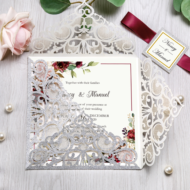 100pcs Silver Square Glitter Paper Laser Cut Wedding Invitation Card With Personalized Wedding Decor Party Supplies