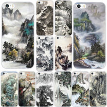 Soft TPU Phone Case for iphone 4 4S 5 5S SE 5C 6 6S 7 8 Plus X XR XS 11 Pro Max Pouches Chinese Landscape Painting(China)