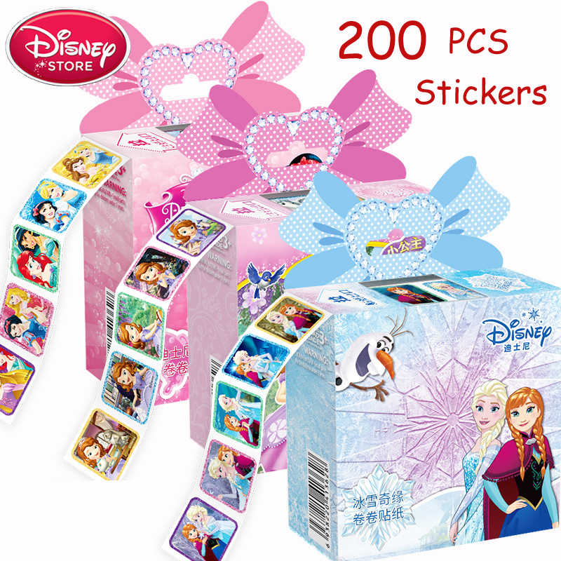 Disney Princess Stickers Belle Snow White Belle Frozen Anna Elsa Stickers for Kids Girls Toys Gift DIY Tattoo Nail Sticker