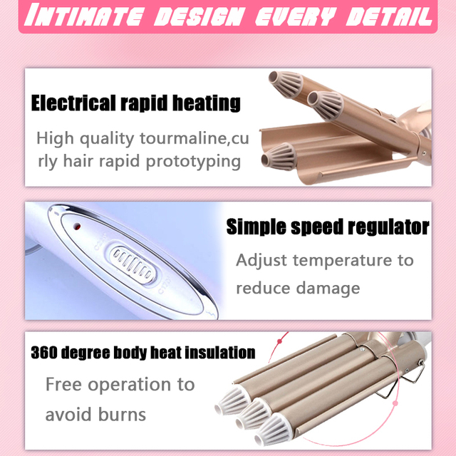 hair care & styling tools curler iron hair curling irons rotating style curl hair styler Ceramic Anti-Scald Wave Curler  4 4