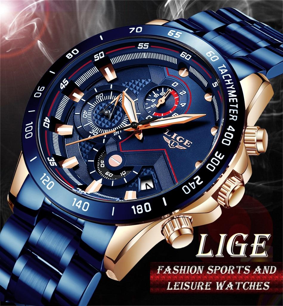 H796369655cb640248900977c869595b3p LIGE Men Watches Top Brand Luxury Stainless Steel Blue Waterproof Quartz Watch Men Fashion Chronograph Male Sport Military Watch