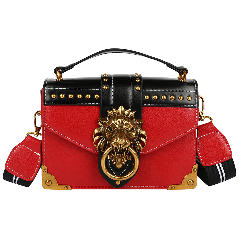 H796371e17fc642b3a2c159343e4567fd3 - Female Fashion Handbags Popular Girls Crossbody Bags Totes Woman Metal Lion Head  Shoulder Purse Mini Square Messenger Bag