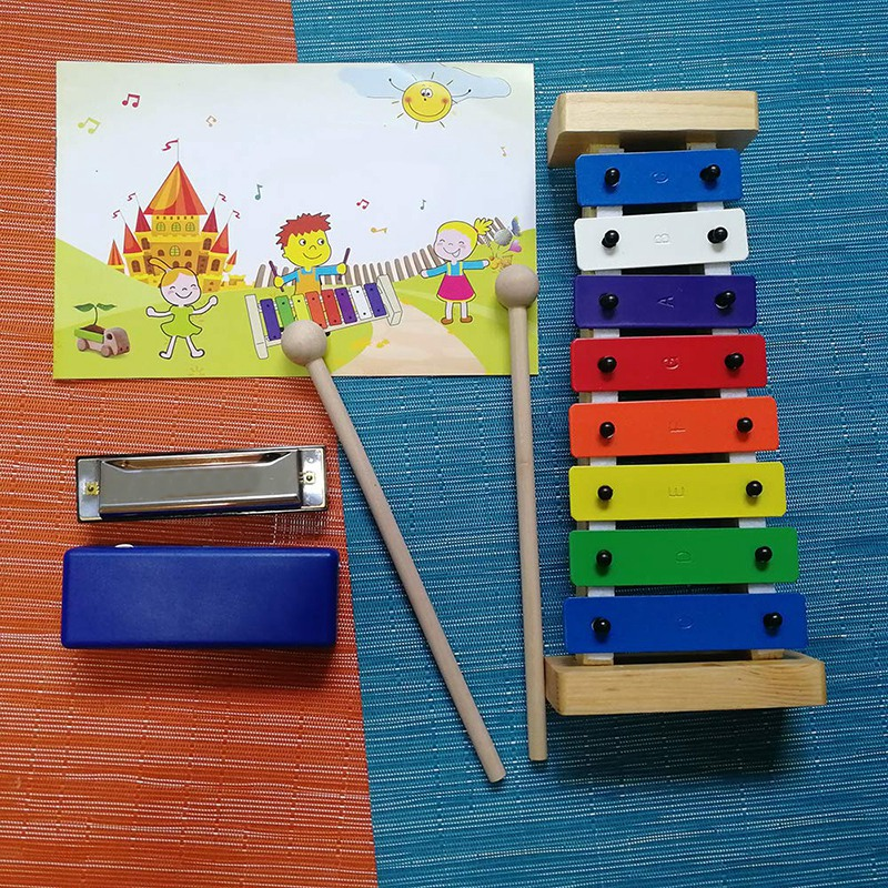 Wooden 8-Key Xylophone For Kids Accurately Tuned Glockenspiel Colorful Keys With Engraved Notes
