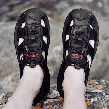 Genuine Leather Men Fashion Sandals Slippers Big Size 38-47 2