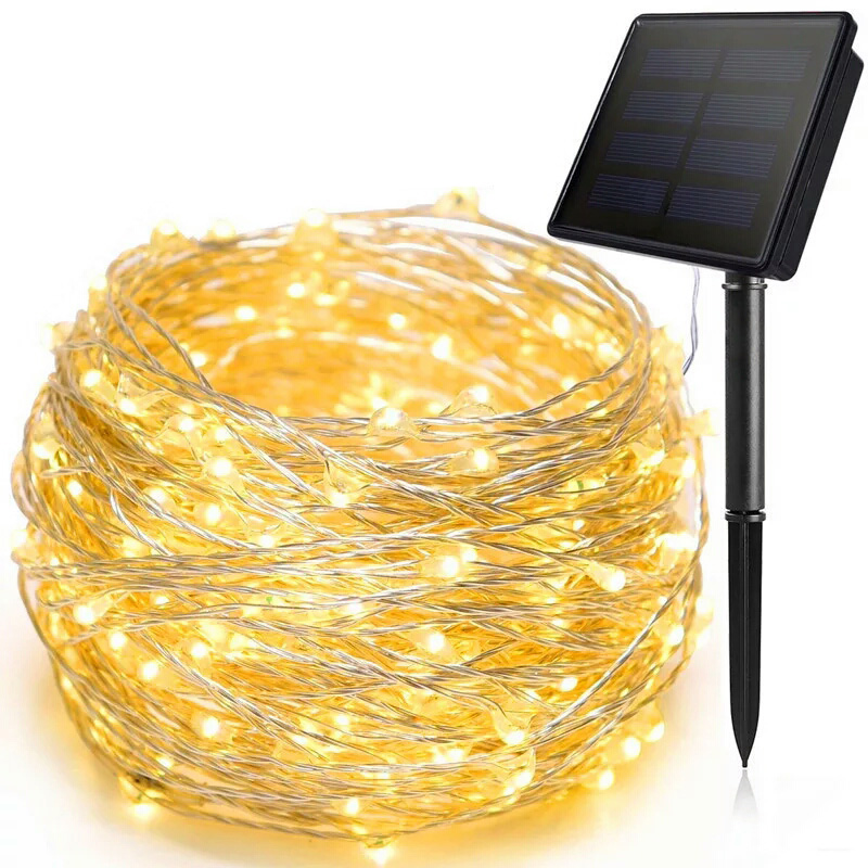10 20M Solar LED Light String Outdoor Waterproof Copper Wire String Holiday Fairy Lights For Christmas Party Wedding Decoration