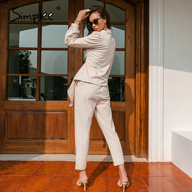 Simplee Casual spring solid wrap women sets office lady V-neck long sleeves two piece set female Elegant cotton sash suits slim 6