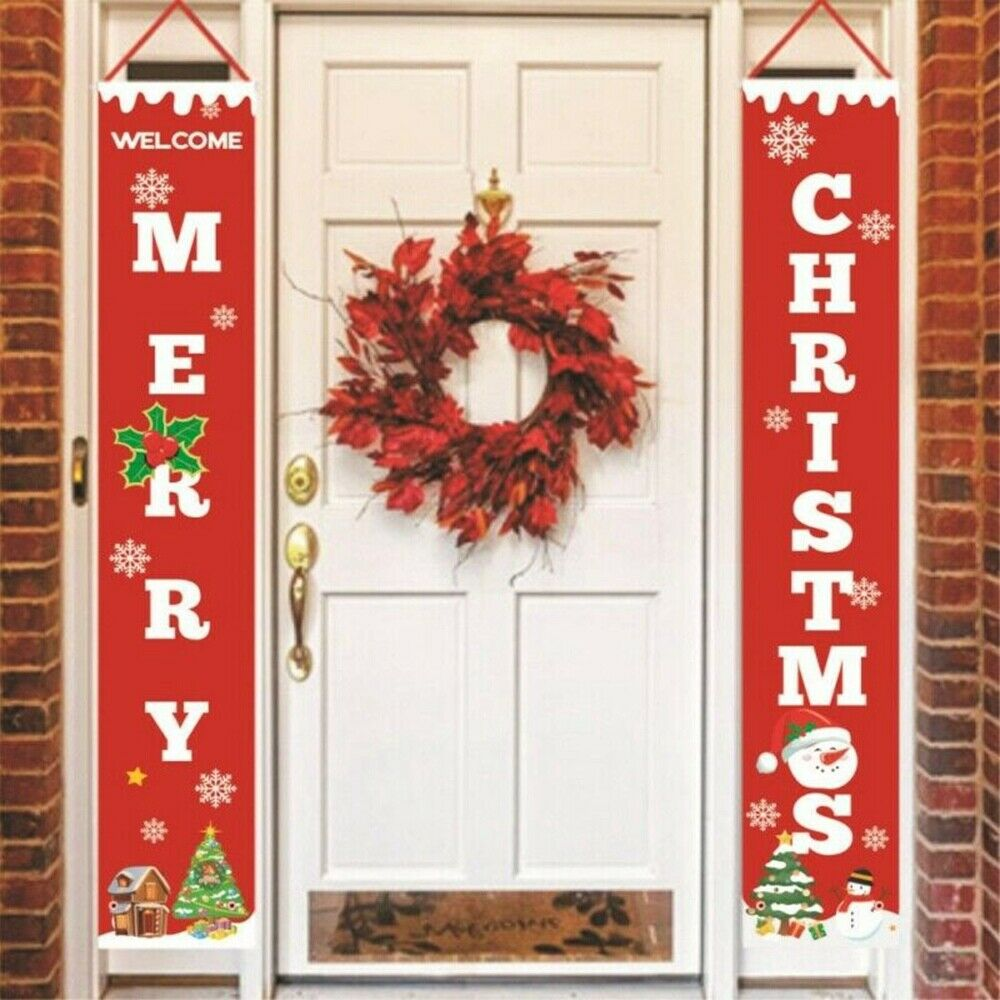 Feliz natal couplets porta pendurado ornamento decoração