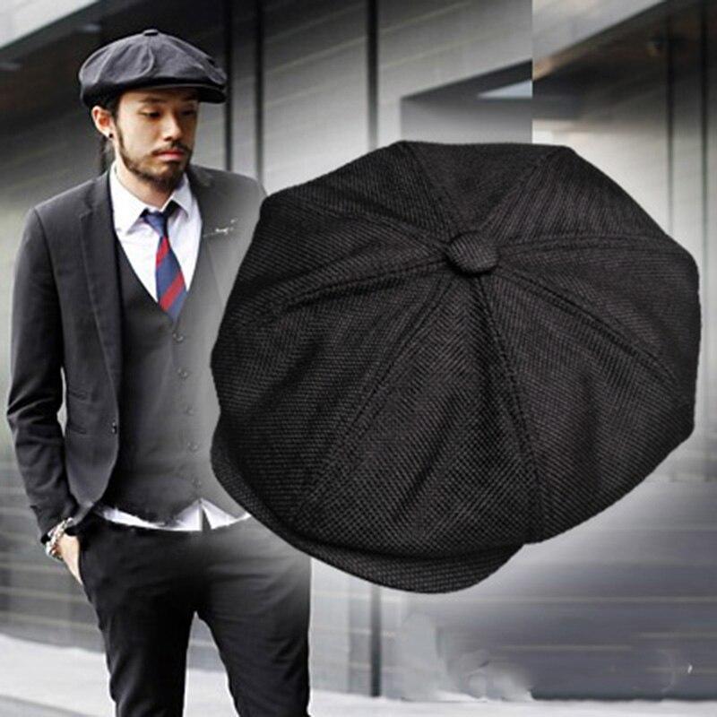 Newsboy cotton and linen tothe octagonal cap beret big head circumference hat shading retro black newsboy cap of England(China)
