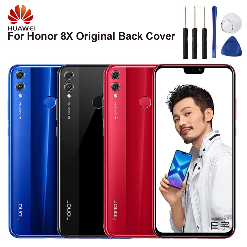 Huawei Original Battery Glass Back Cover Door For HuaWei Honor 8X Door Rear Housing Back Cover Protective Phone Cases|Phone Bumpers| |  - title=