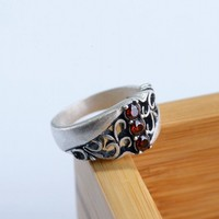New 100% real S990 pure silver vintage Thai silver craft silver ring for woman stone engraving woman's silver rings