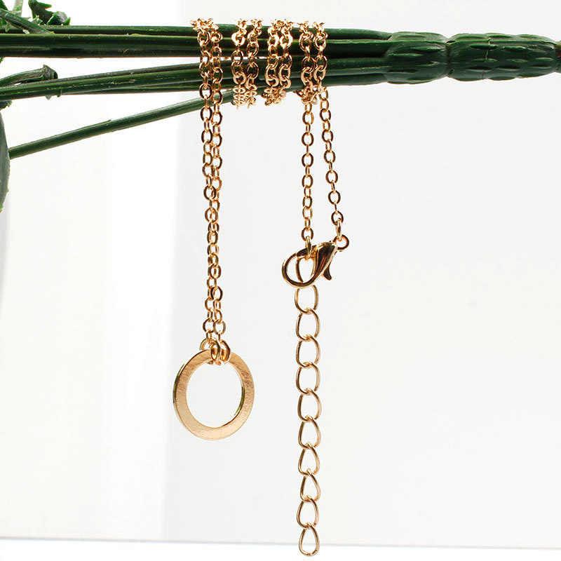 Frauen Mode Minimalistischen Einfache Kreis Anhänger Ketten Halskette ND302