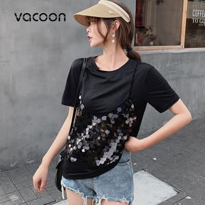 Image 3 - New Female Fashion Summer Tops Women Fake 2 Pieces Casual Sequins T Shirt Short Sleeve Top Tee