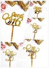 Novo ouro acrílico sweet16 20th 30th 40th idade especial festa de aniversário decoração suprimentos feliz aniversário bolo topper