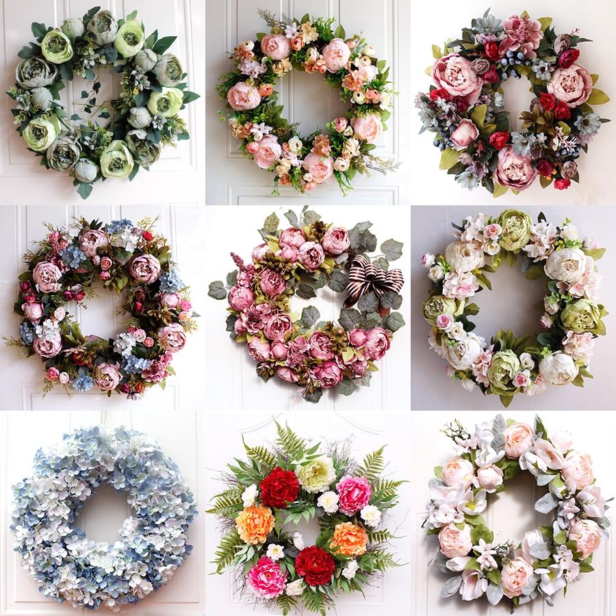 Weihnachten Simulation Rosa Seide Pfingstrose Kranz Anhänger 21 Neue Jahr Künstliche Girlande Ornamente Hause Hochzeit Dekoration Türen Decor
