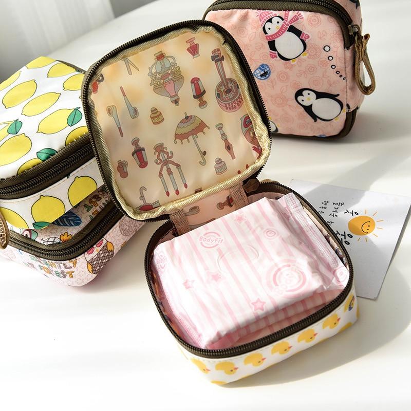 Tampon Storage Bag Sanitary Pad Pouch Women Napkin Cosmetic Bags Organizer Ladies Makeup Bag Girls Tampon Holder Organizer