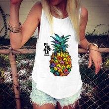 Chaleco Harajuku mujeres camisola camisetas Vintage estampado de piña Vogue camiseta femenina Casual suelta playa deportes Sexy superior Streetwear